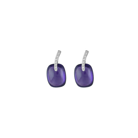 Amethyst and Diamond Fashion Earrings in 10K White Gold