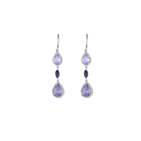 Amethyst, Pink Amethyst and Diamond Earrings