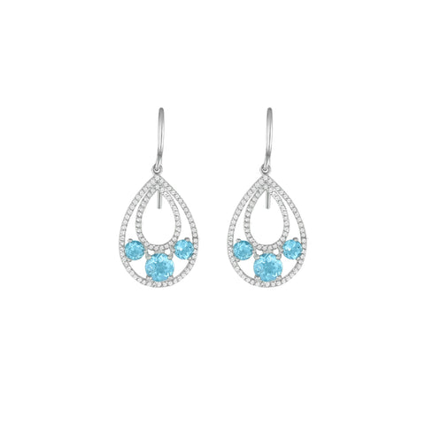 Blue Topaz and Created White Sapphire Dangle Earrings