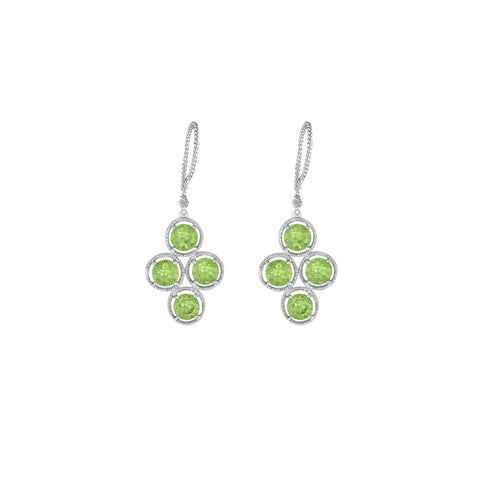 Peridot and Diamond Dangle Fashion Silver Earrings