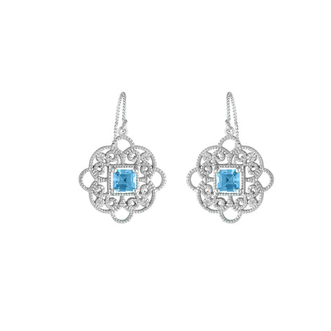 Blue Topaz and Diamond Fashion Earrings in Silver
