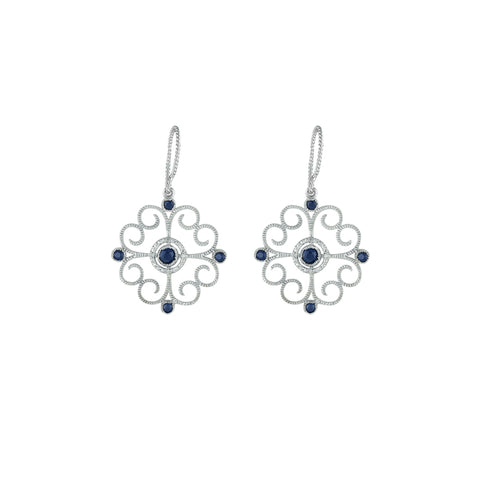 Blue Sapphire and Diamond Accent Earrings in Silver