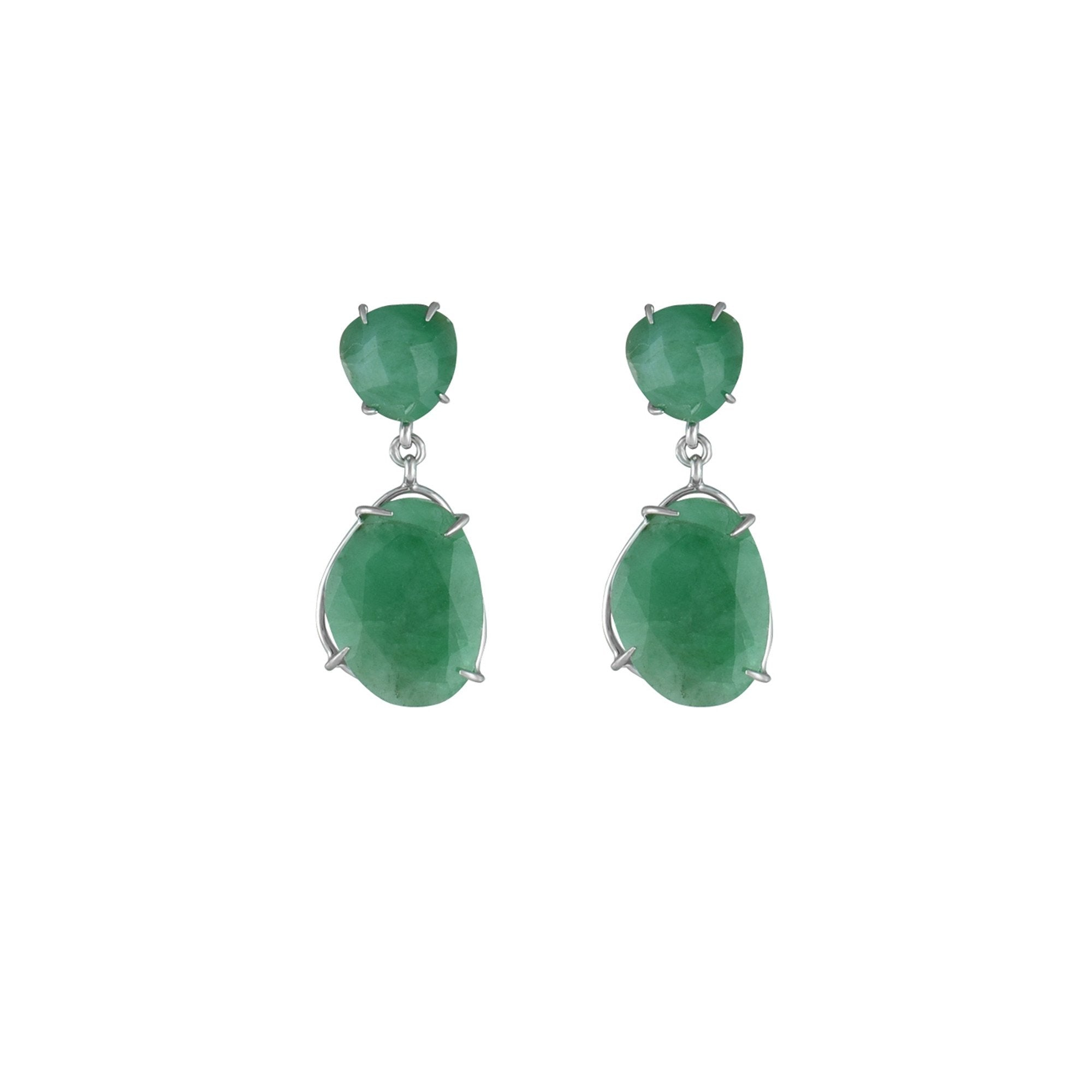 cb007420fe4ca Rough Cut Genuine Emerald Earrings in Sterling Silver