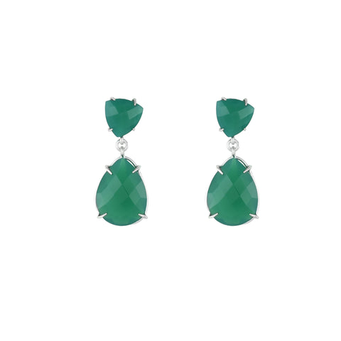 Green Onyx Fashion Earrings in Sterling Silver