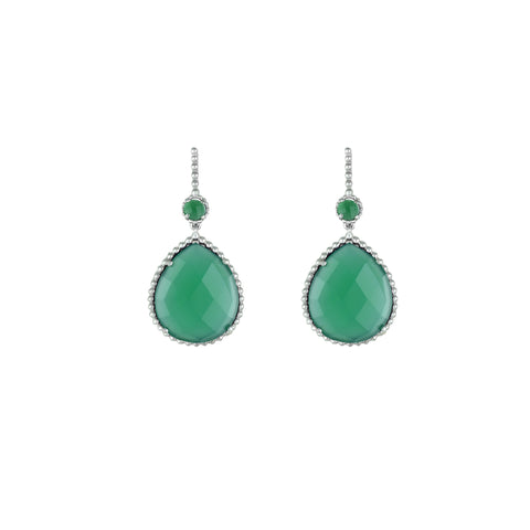 Green Onyx Dangle Fashion Earrings In Sterling Silver