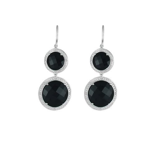 Black Onyx and Diamond Fashion Earrings In Silver