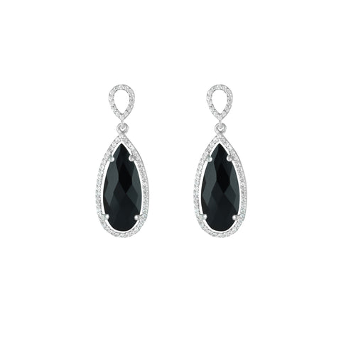 Black Onyx and Created White Sapphire Earrings in Silver