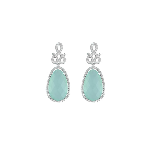 Green Aquamarine and Created White Sapphire Earrings in Silver