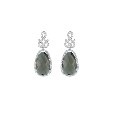 Smokey Topaz and Created White Sapphire Earrings in Silver