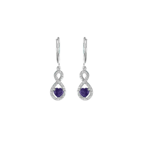 Amethyst and Diamond Infinity Heart Silver Earrings