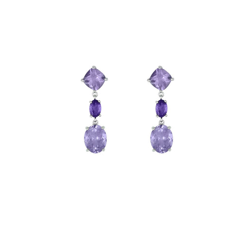 Amethyst and Pink Amethyst Drop Earrings in Silver