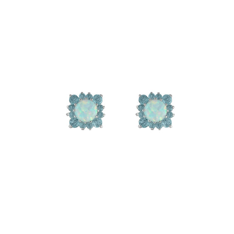 Created Opal, Blue Topaz Fashion Studs in Sterling Silver