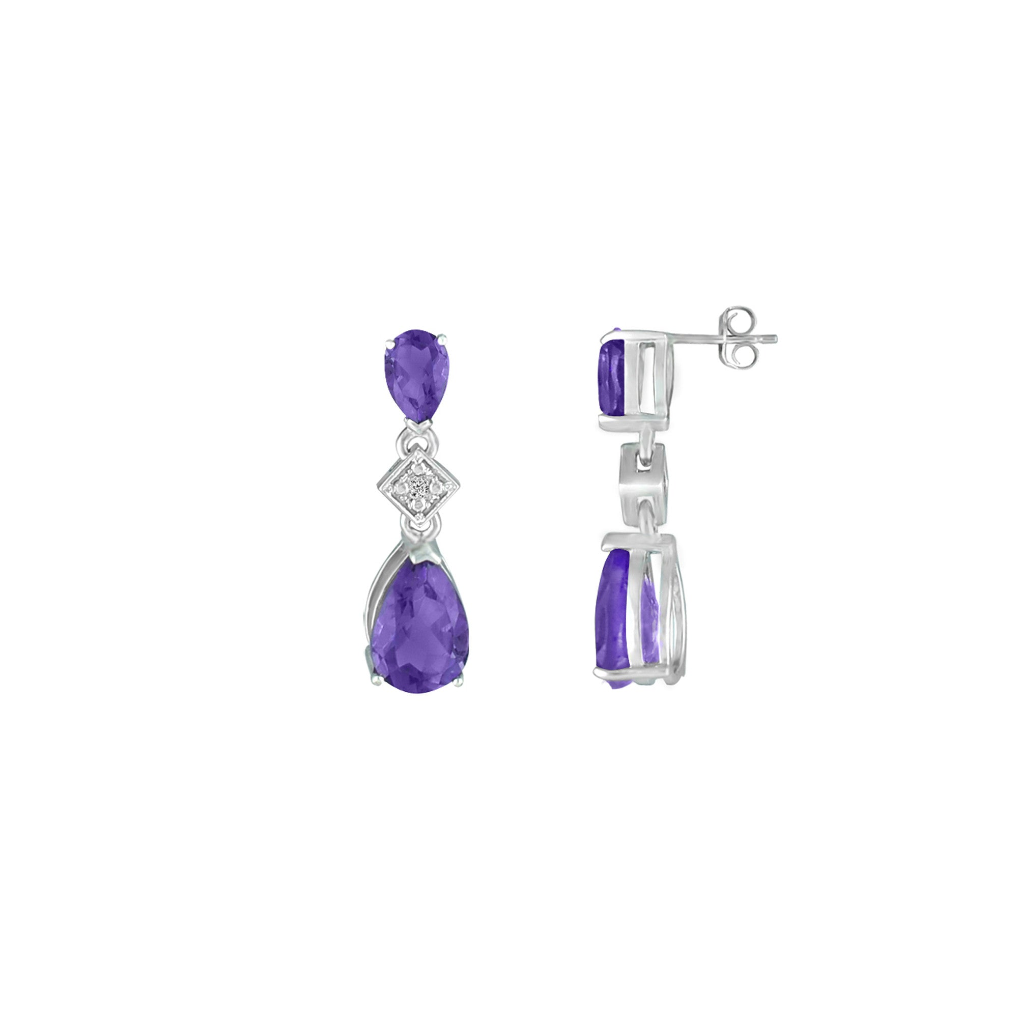 Amethyst and Diamond Accent Fashion Drop Earrings in Silver