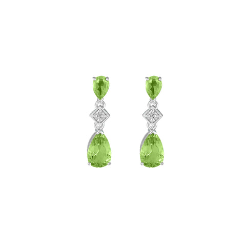 Peridot and Diamond Accent Fashion Drop Earrings in Silver