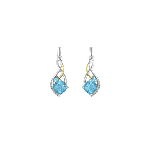 Blue Topaz and Diamond Fashion Earrings in Silver & 14K