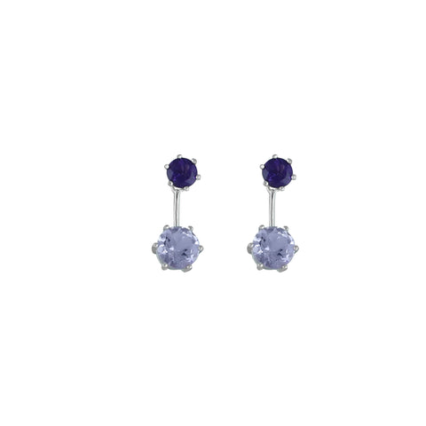 Amethyst Earrings - Purple & Pink Amethyst Fashion Earrings in Silver