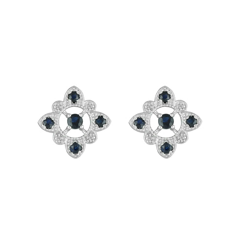 Blue Sapphire and Diamond Fashion Earrings in 10K White Gold