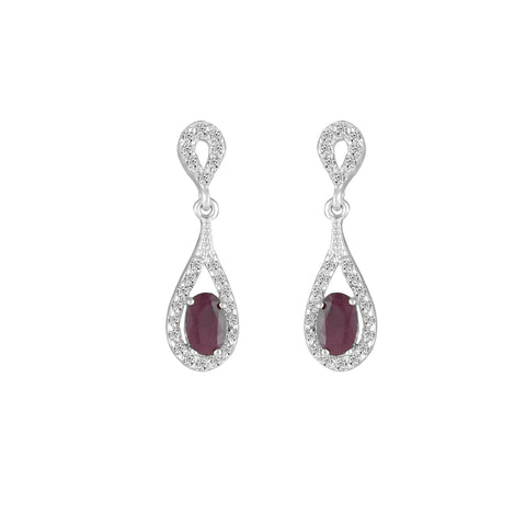 Genuine Ruby and Diamond Dangle Earrings in 10K White Gold