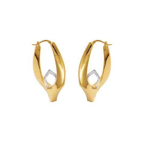 14K Yellow Gold and Diamond Innovoro® Lightweight Hoop Earrings