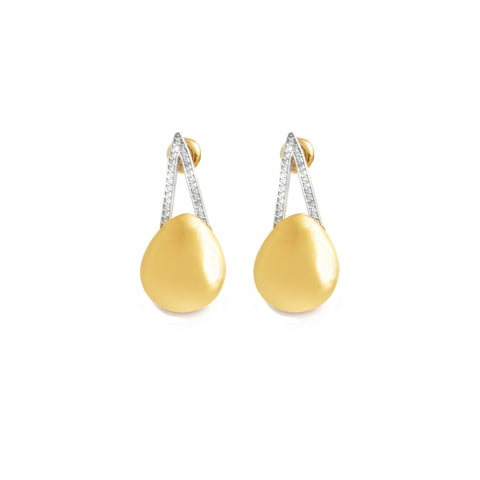 14K Yellow Gold and Diamond Innovoro® Lightweight Fashion Earrings