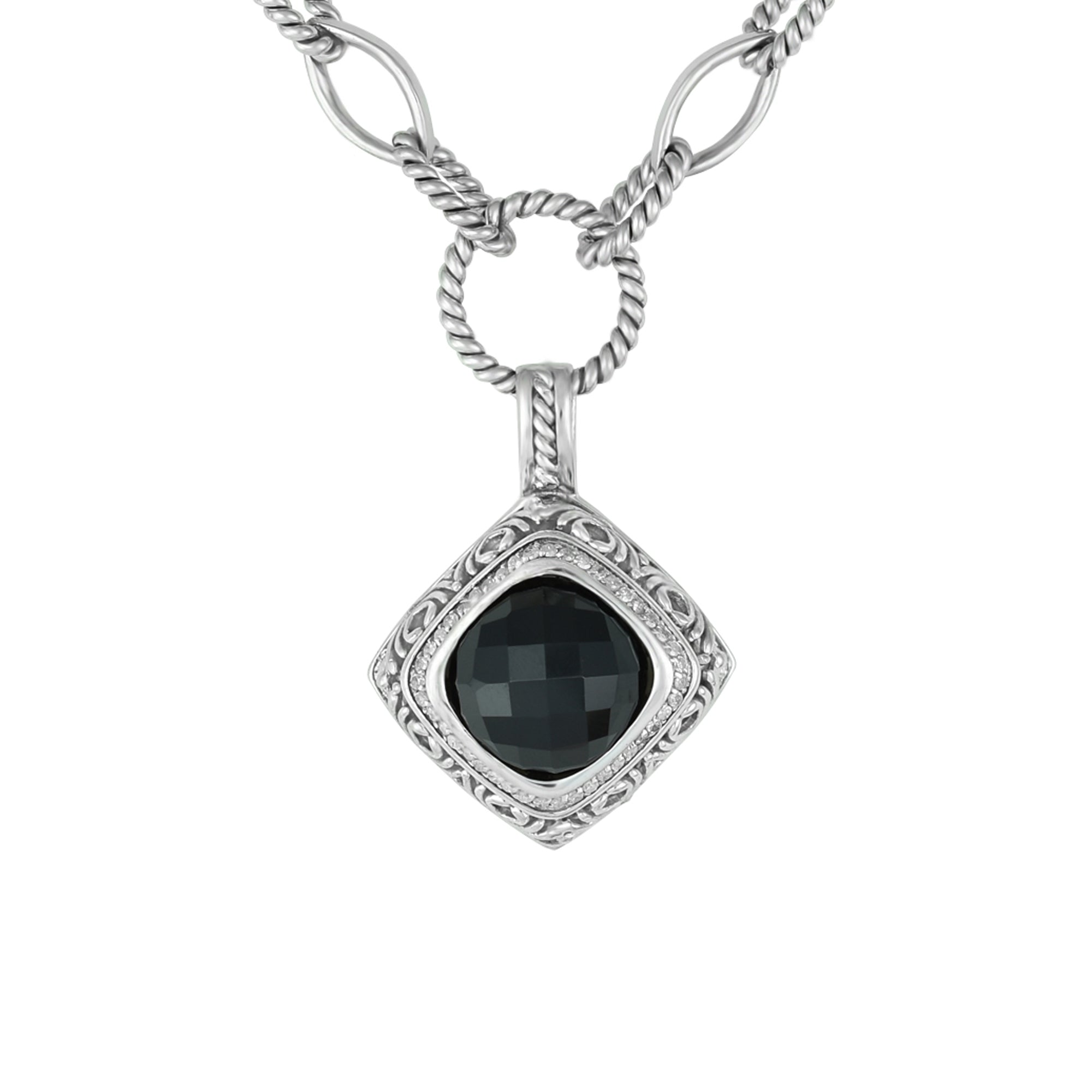 faceted a onyx tourmaline black necklace pendant with products img