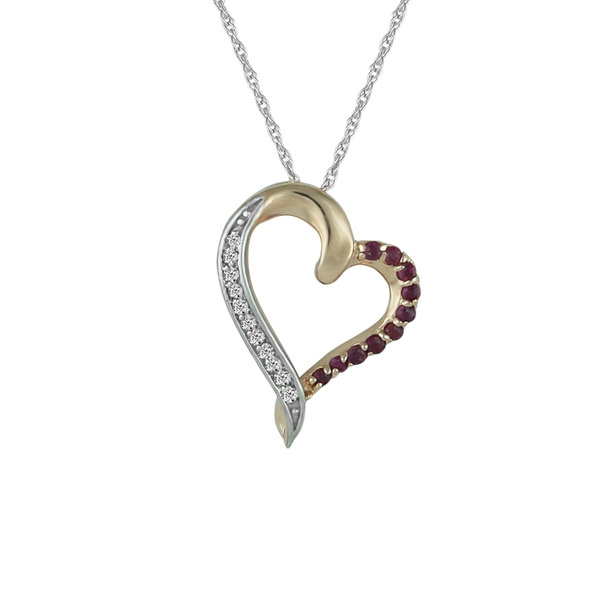 216e50a05fd4b Ruby and Diamond Accent Heart Pendant in 10K Rose Gold – jewelerize.com