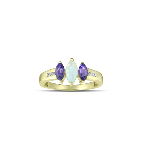 10K Yellow Gold Amethyst and Created Opal Fashion Ring