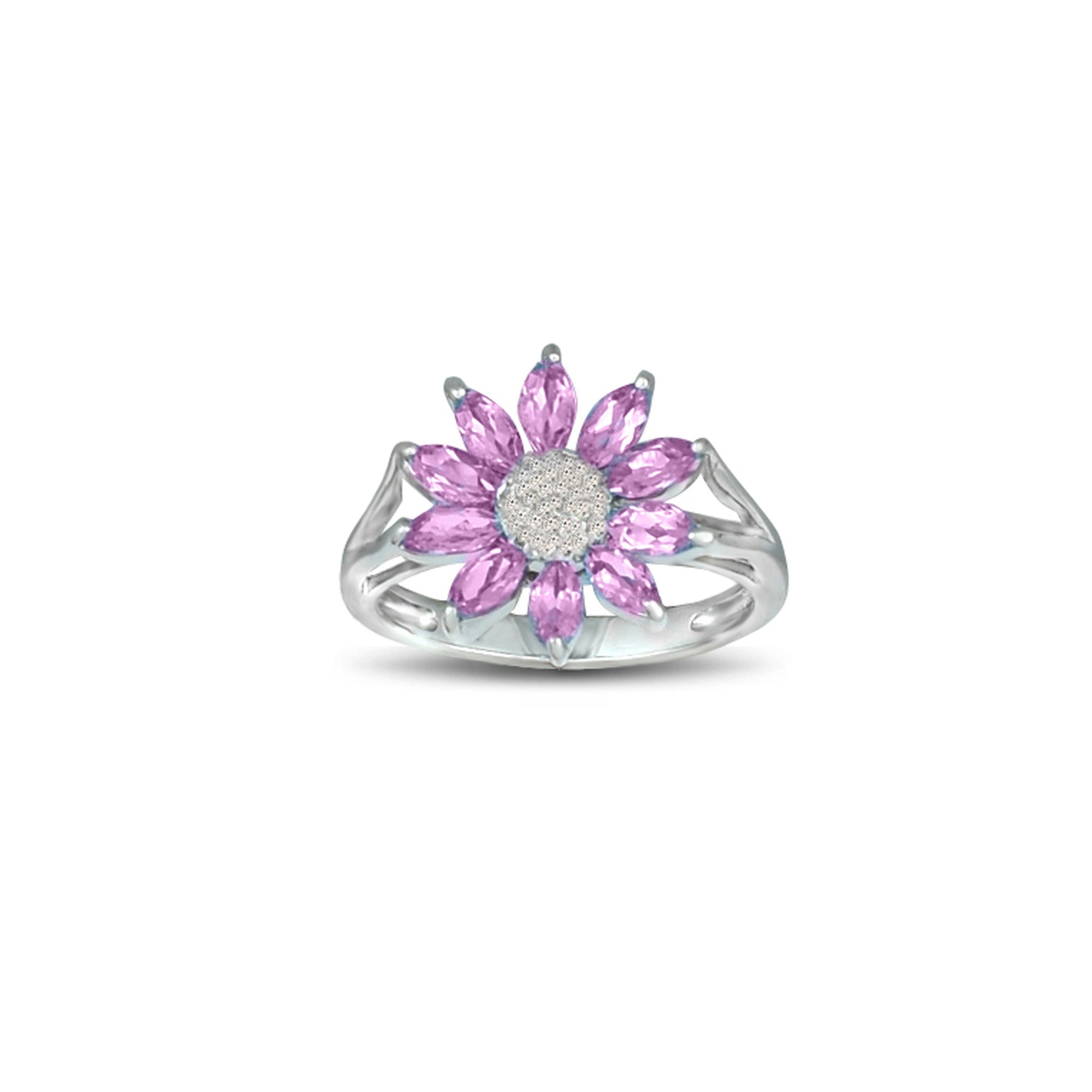 Created Pink Sapphire And Diamond Accent Flower Ring In Silver