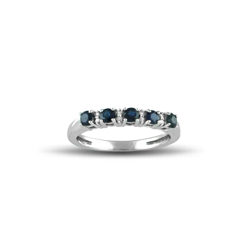 10K White Gold Sapphire and Diamond Accent Band Ring