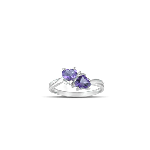 10K White Gold Amethyst and Diamond Accent Heart Ring