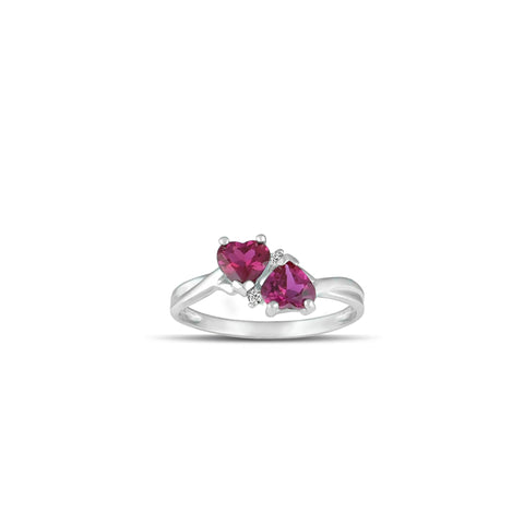 10K White Gold Created Ruby and Diamond Accent Heart Ring