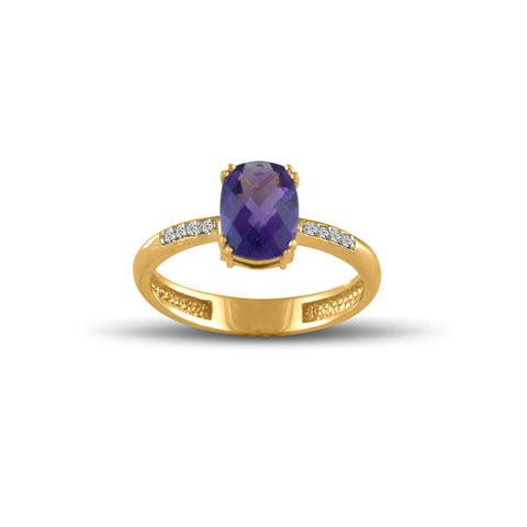 10K Yellow Gold Amethyst and Diamond Accent Fashion Ring