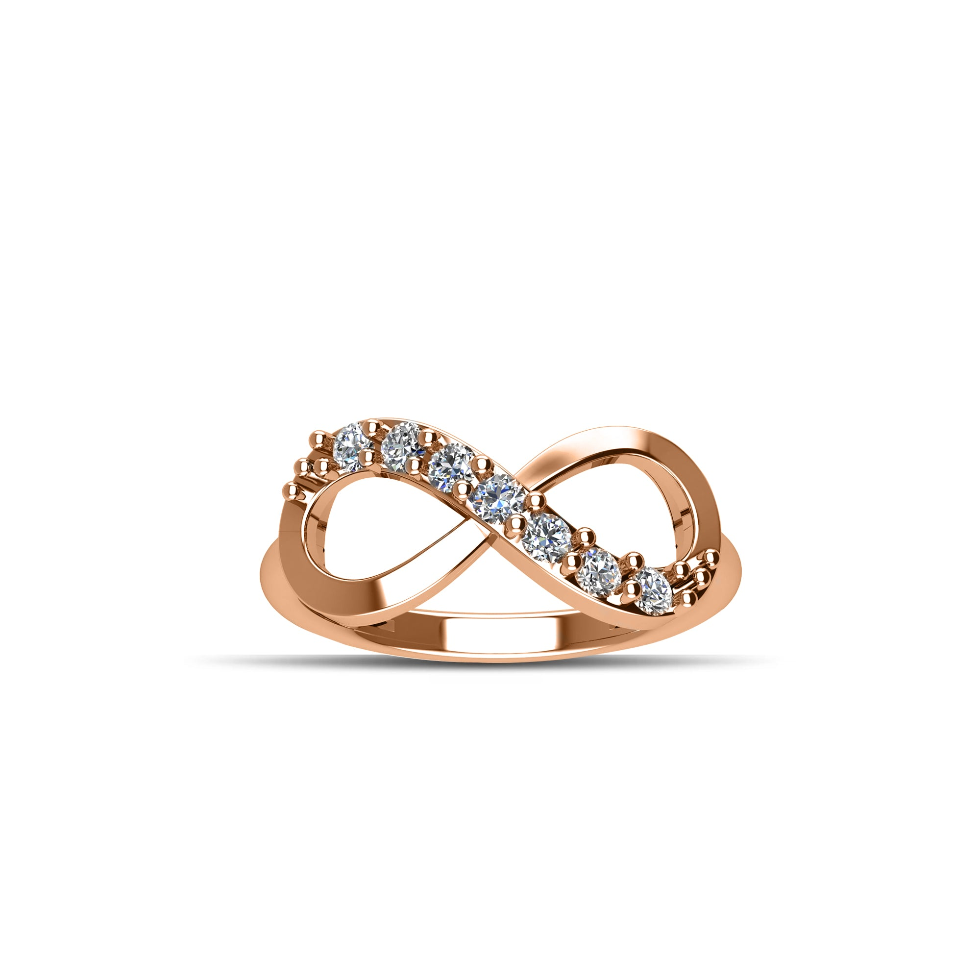 band rose de beers infinity bands solitaire gold ring