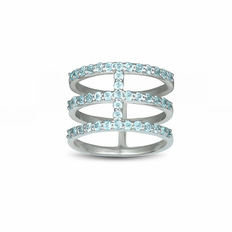 Blue Topaz Three Row Geo Ring in Sterling Silver