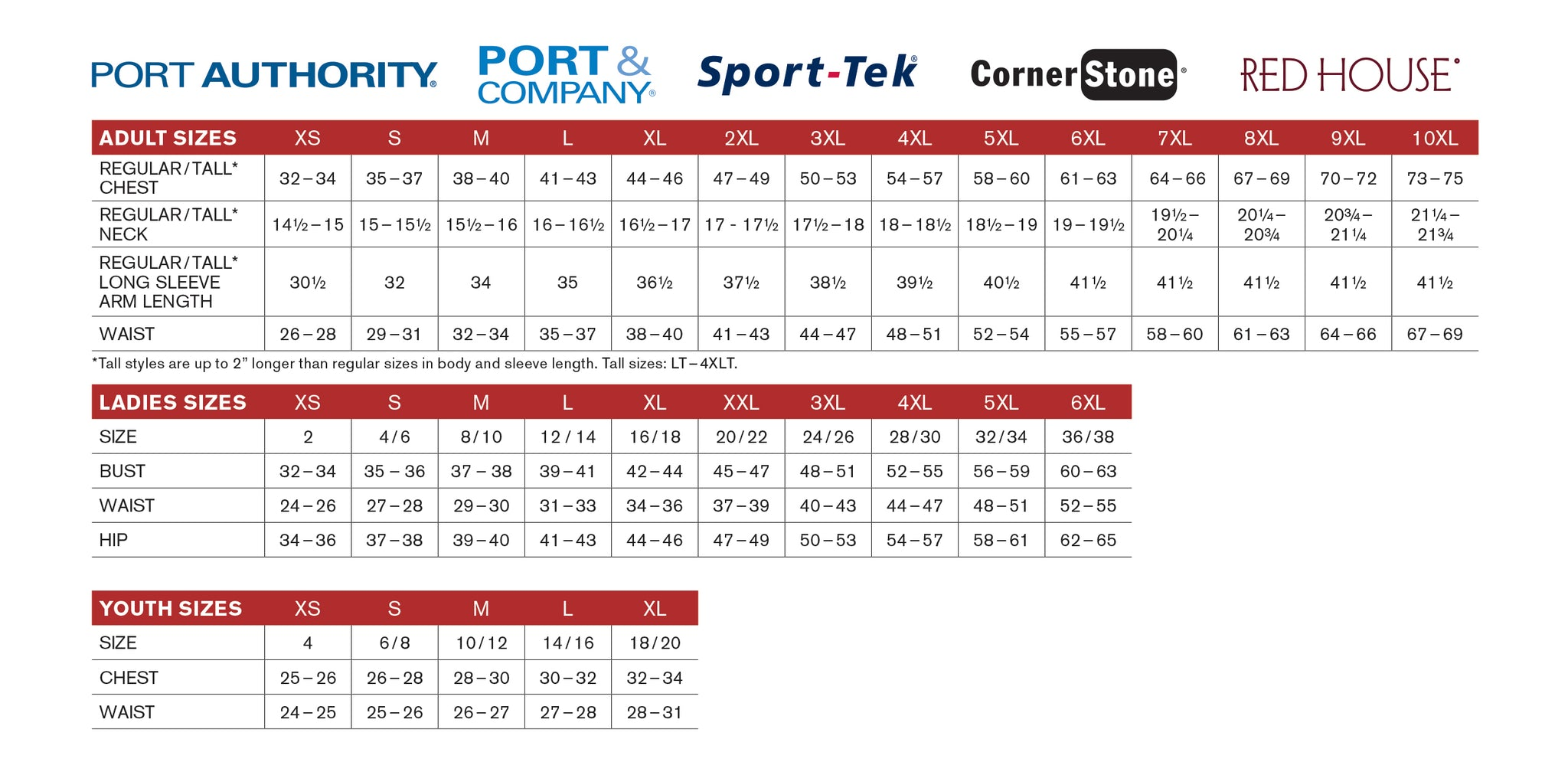 Port Authority® Size Chart