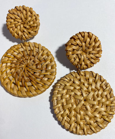 Rattan Earrings | Solid Circles