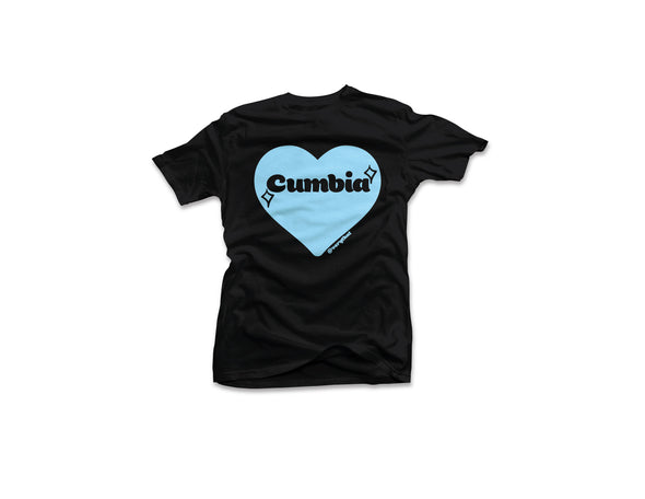 Cumbia Tee - Black and Baby Blue