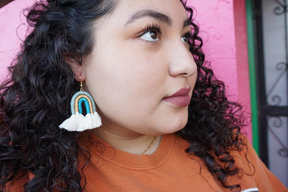 Cielo Rainbow Earrings (Light Blue, Gold, & Teal)