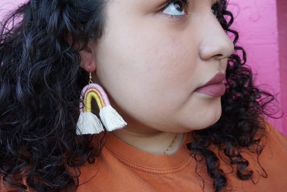 Que Cute Rainbow Earrings (Pink, Gold & Yellow)