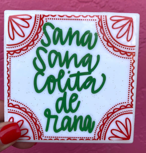 Sana Sana Colita de Rana Tile/Coaster by VeryThat