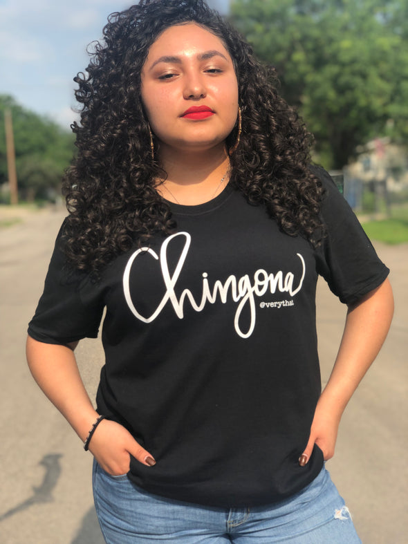 Chingona Tee Black with White | Soft style