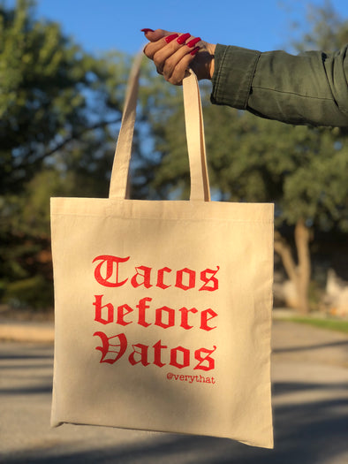 Tacos before Vatos Red Canvas Tote Bag