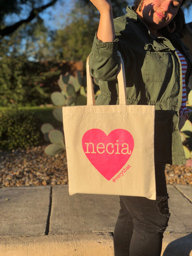 Necia Tote in Canvas and Hot Pink