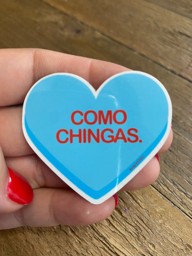 Como Chingas Blue Heart Sticker