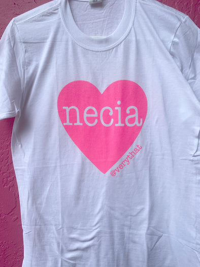 Necia Heart Hot Pink and White Tee