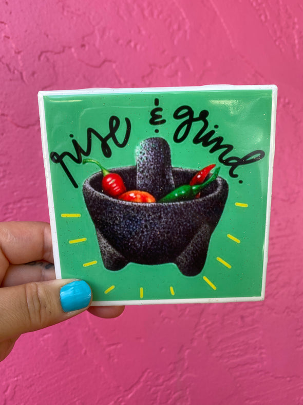 Rise and Grind Molcajeta Coaster/ Tile (Green)