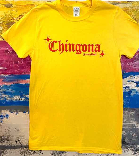 Chingona Old English Tee Yellow and Red