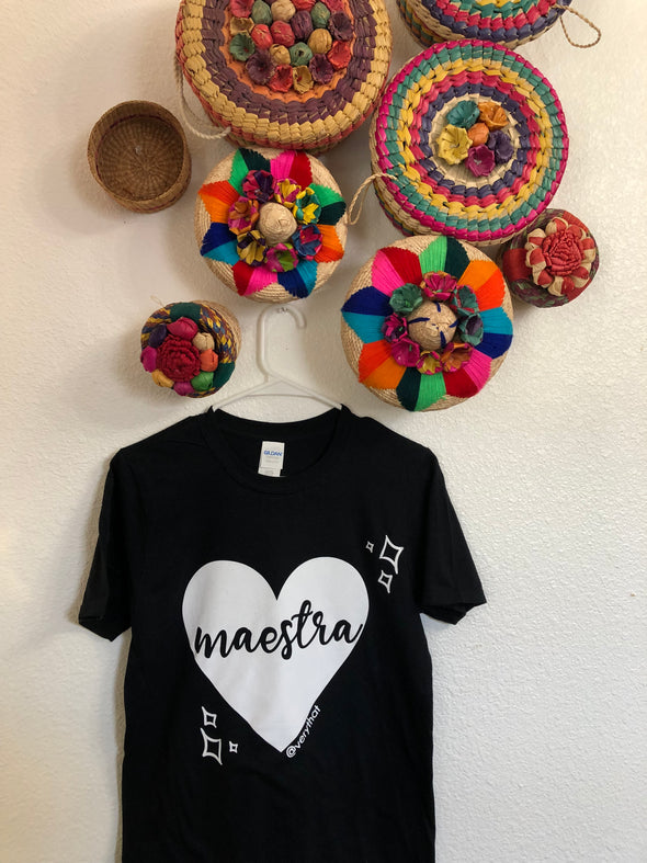 Maestra Tee (Black with white ink)