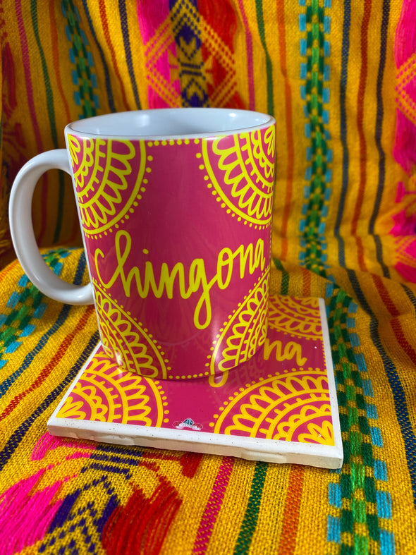 Chingona Pink and Yellow Mug and Tile Bundle