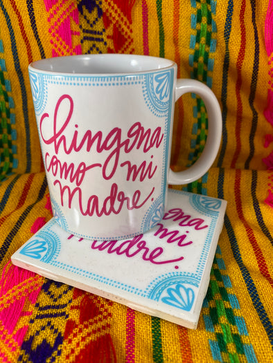 Chingona Como Mi Madre Mug and Tile Bundle